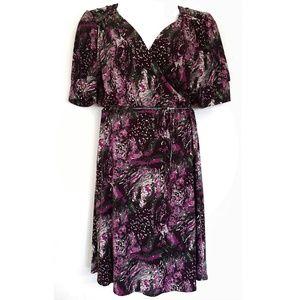 Lane Bryant Wrap Dress Purple Mosaic 14/16